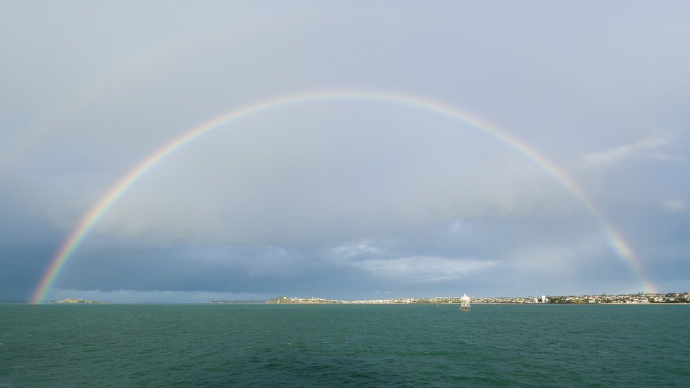 Rainbow over the Hauraki Gulf