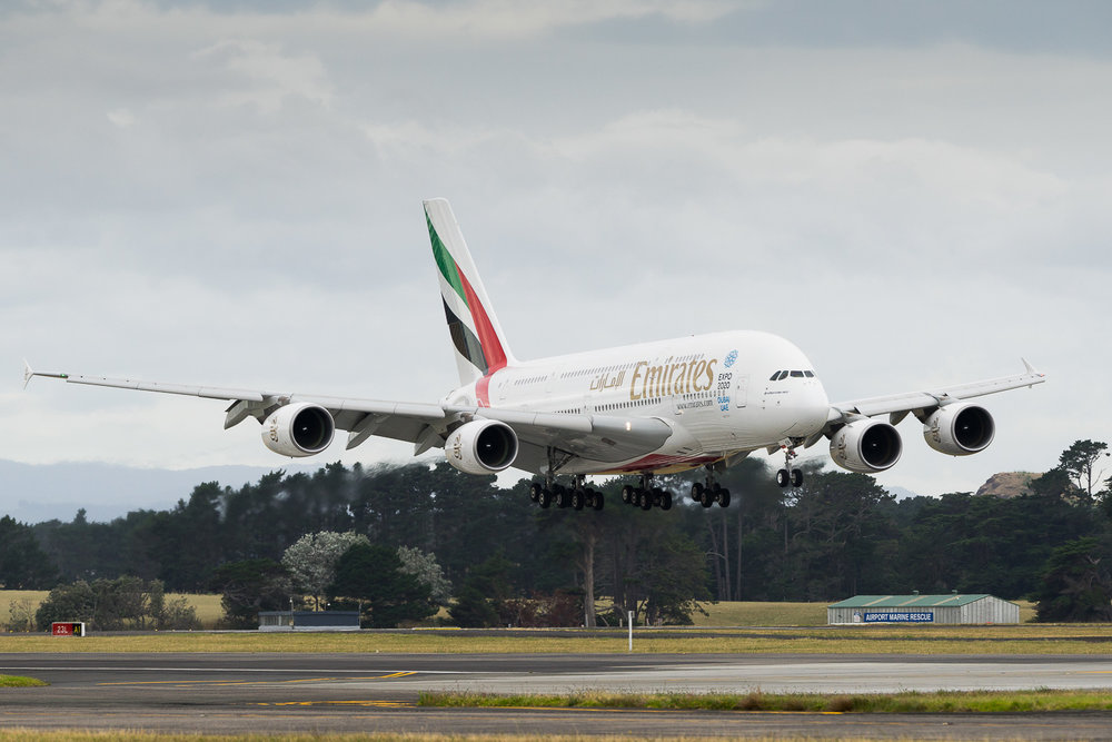 Emirates Airbus A380 A6-EEH arriving on 23L as EK418 from Sydney. January 2017