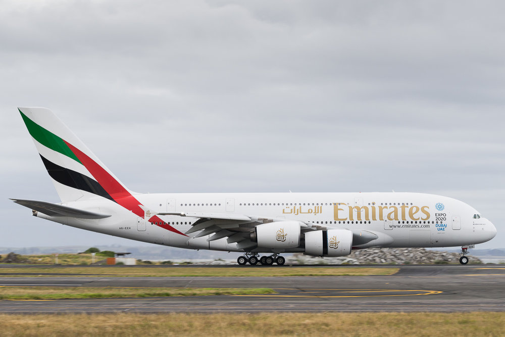 Emirates Airbus A380 A6-EEH arriving on 23L as EK418 from Sydney. January 2017.