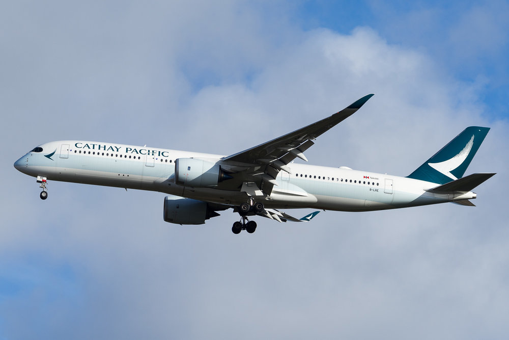 Cathay Pacific Airbus A350-900 B-LRE arriving in Auckland as Cathay 117 from Hong Kong. January 2017