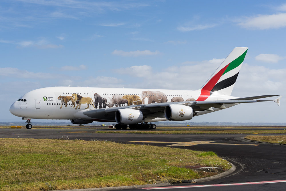 Emirates Airbus A380 A6-EOM taxiing for departure from Auckland, operating as EK419 to Sydney. This aircraft wears the United for Wildlife scheme. January 2017