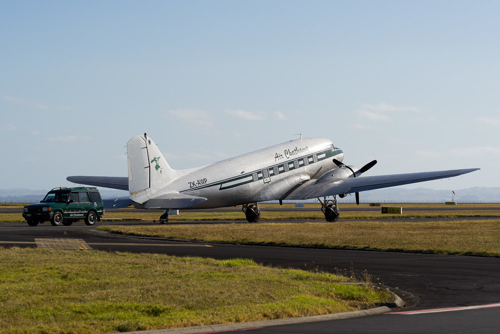Air Chathams DC-3 under tow at Auckland. January 2017.