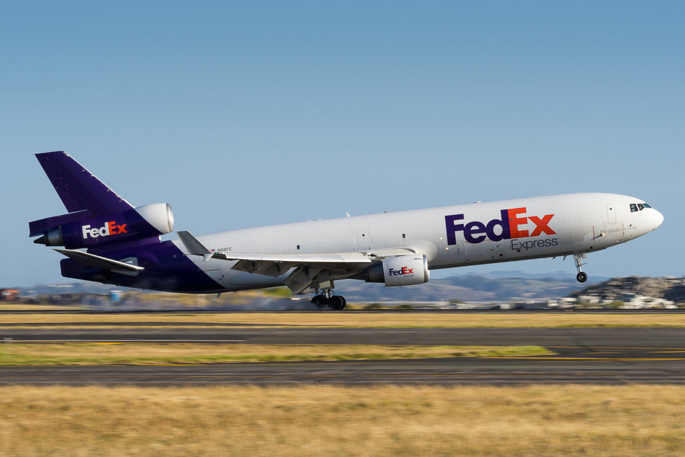 FedEx MD11 N618FE arriving on 23L at Auckland. January 2017.
