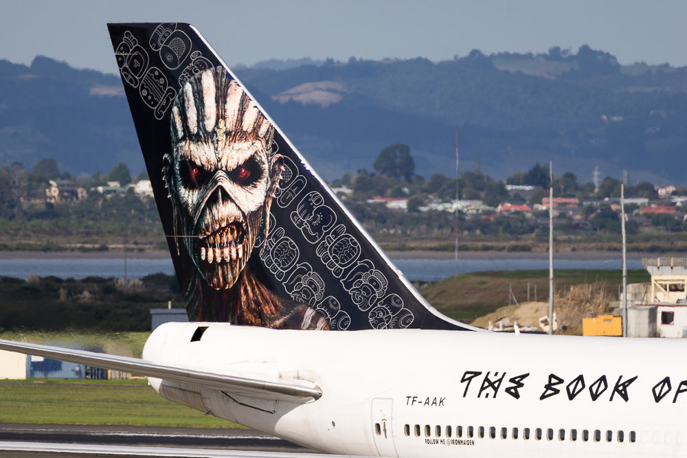 Iron Maiden Boeing 747-400 TF-AAK landing on runway 05R. April 2016