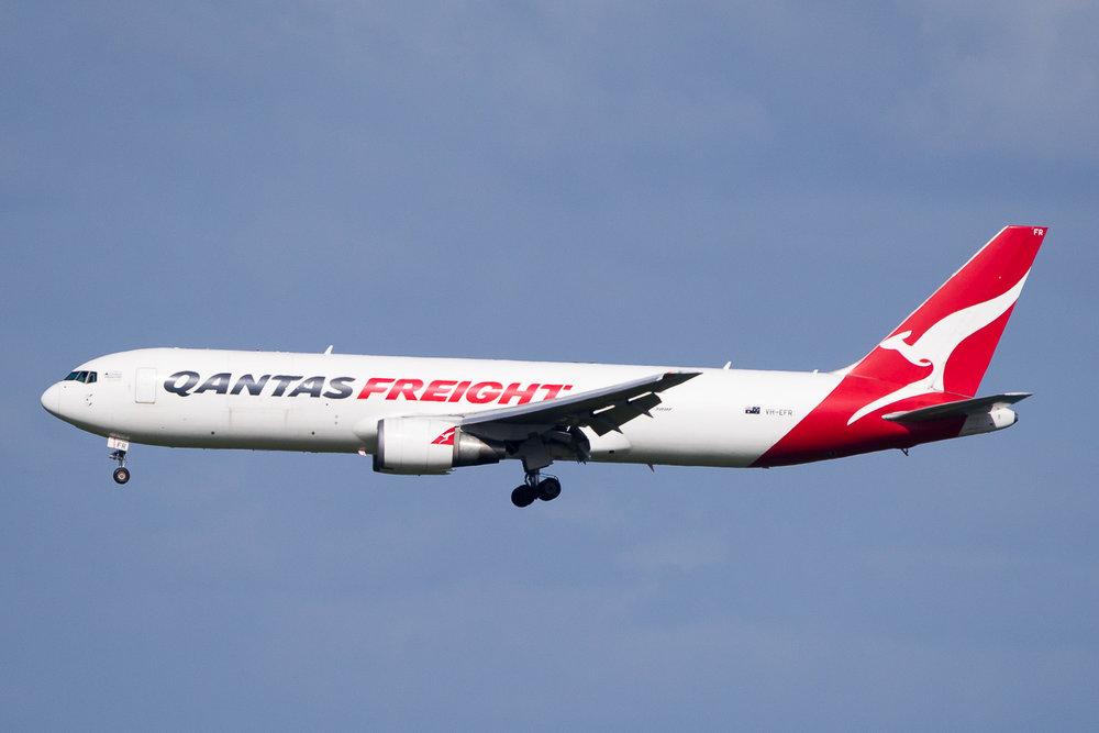 Qantas Boeing 767-300ERF VH-ERF arriving on 05R at Auckland. May 2016