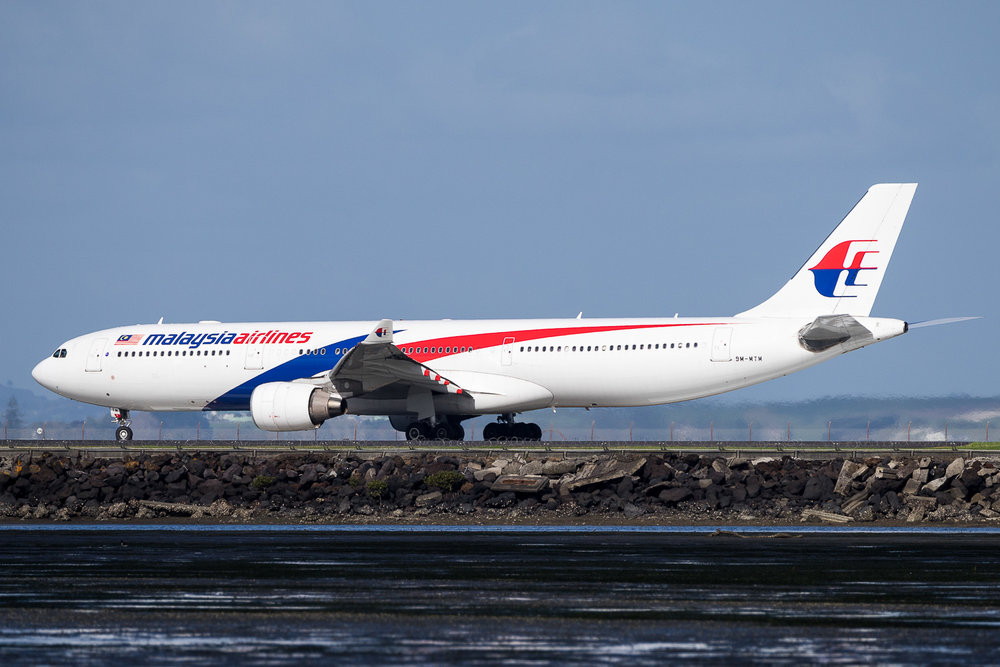 Malaysia Airlines A330-300 9M-MTM departing runway 05R at Auckland. May 2016