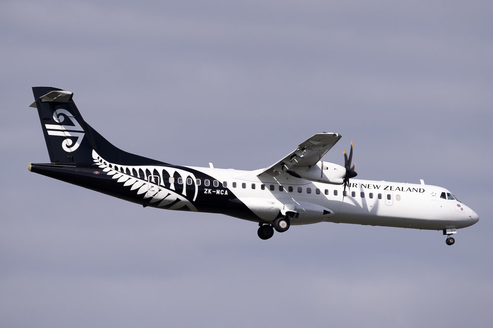 Mount Cook Airline ATR72-500 ZK-MCA arriving in Auckland. May 2016