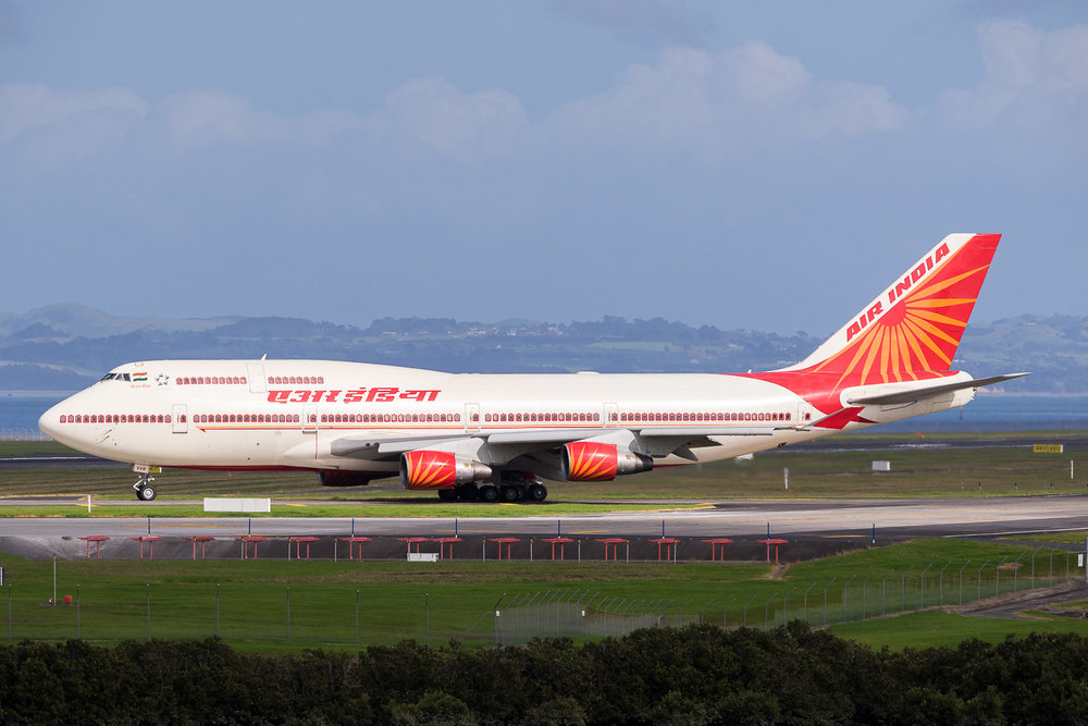 Air India Boeing 747-400 VT-EVB, waiting to depart 23L. May 2016