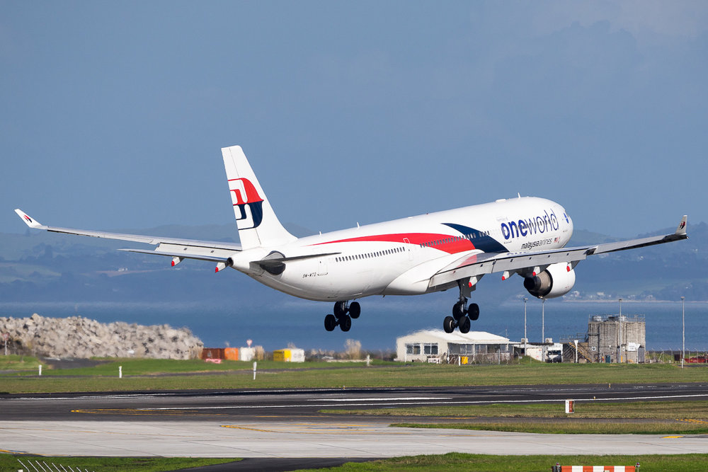 Malaysia Airlines Airbus A330-300 9M-MTO landing on 23L at Auckland. May 2016