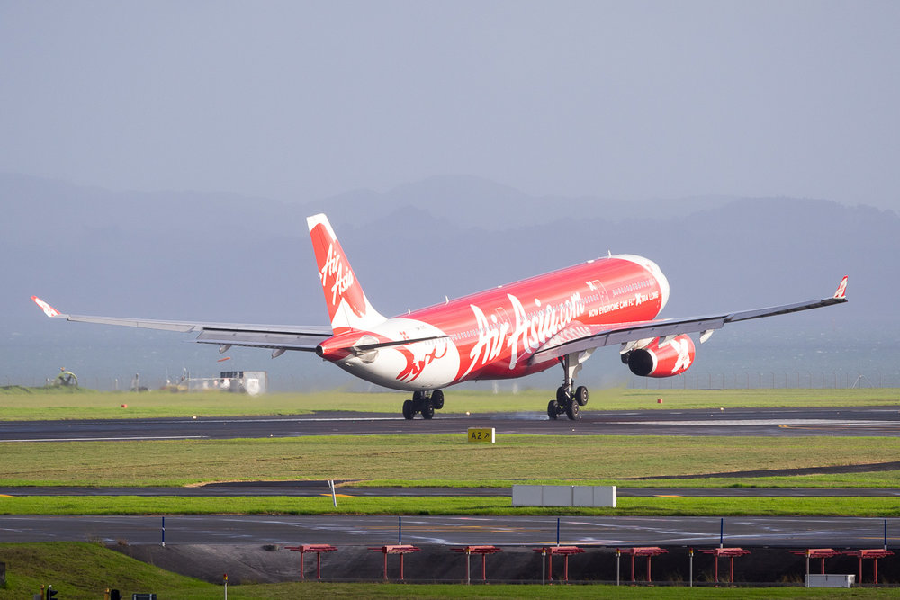 AirAsia X Airbus A330-300 9M-XXS arriving in Auckland. May 2016
