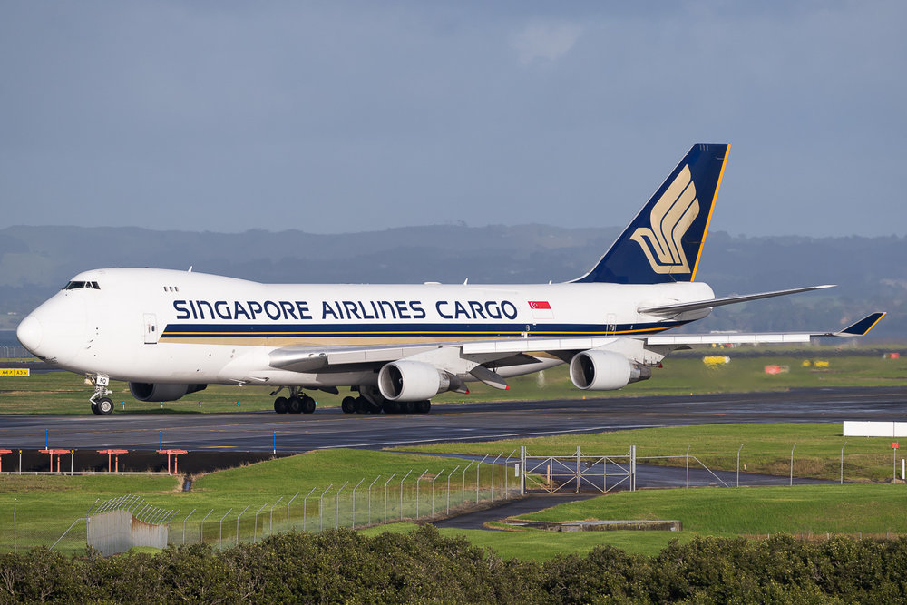 Singapore Airlines Cargo Boeing 747-400F 9V-SFQ in Auckland. May 2016