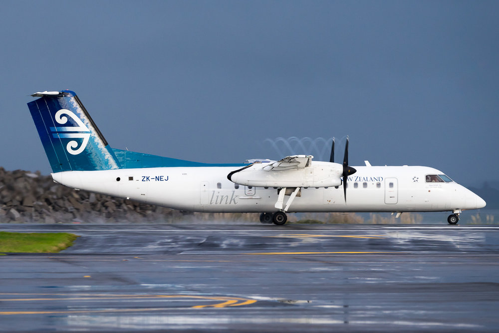 Air Nelson Bombardier Q300 ZK-NEJ, seen departing 23L at Auckland. May 2016