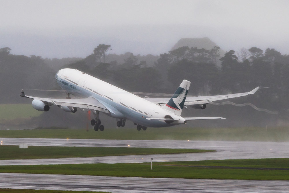 Cathay Pacific Airbus A340-300 B-HXF departing 05R at Auckland. June 2016