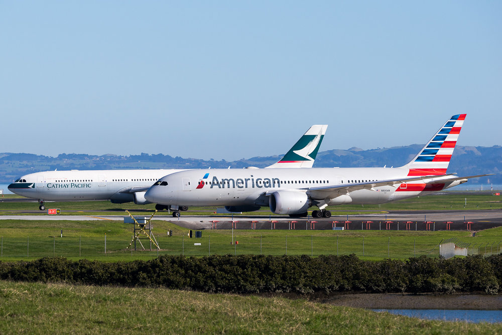 American Airlines Boeing 787-8 N800AN and Cathay Pacific Airbus A340-300 B-HXj in Auckland. July 2016