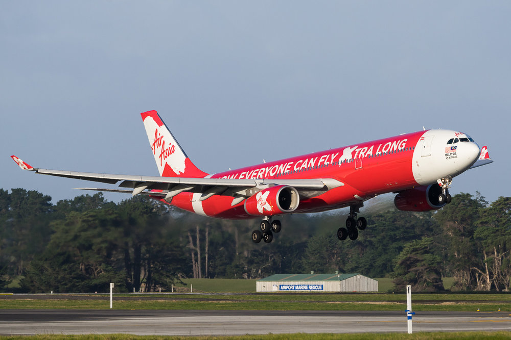 AirAsia X Airbus A330-300 9M-XXV arriving in Auckland. July 2016