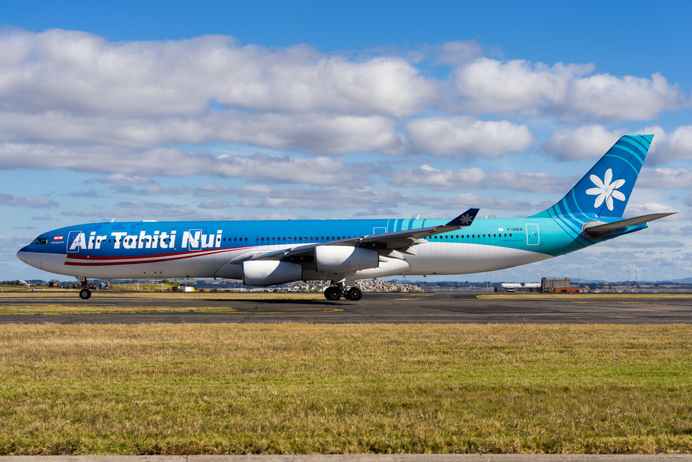 Air Tahiti Nui Airbus A340-300 F-OSEA taxiing for departure from Auckland. January 2017.