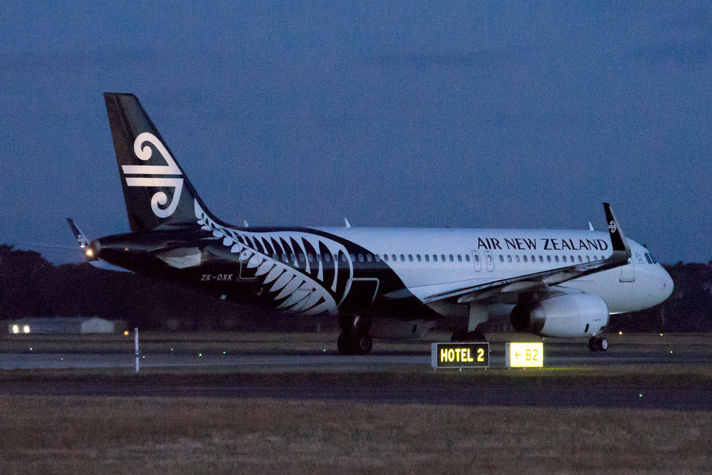 Air New Zealand Airbus A320 ZK-OXK at dusk. February 2017