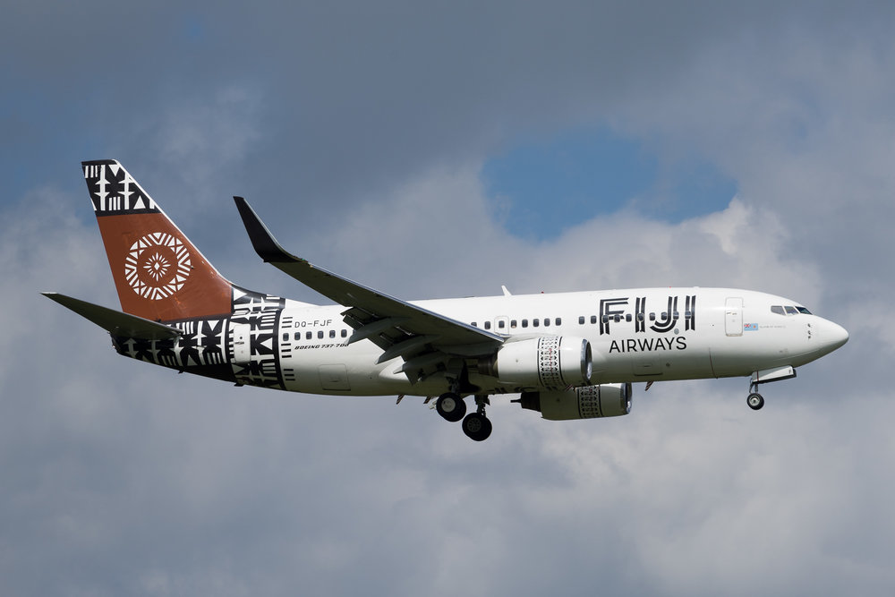 Fiji Airways Boeing 737-700 DQ-FJF arriving in Auckland. March 2017