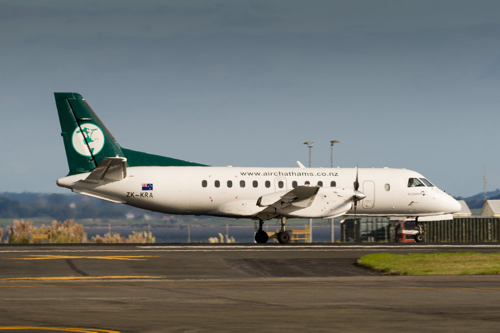 Air Chathams Saab 340 ZK-KRA arriving in Auckland. March 2017