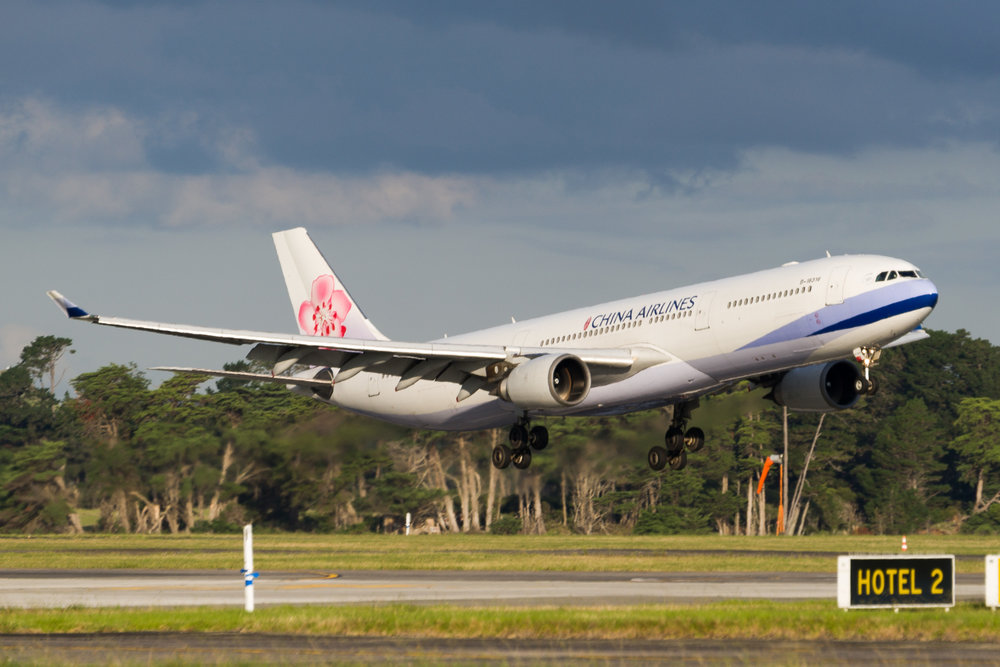 China Airlines Airbus A330-300 B-18316 arriving in Auckland. March 2017