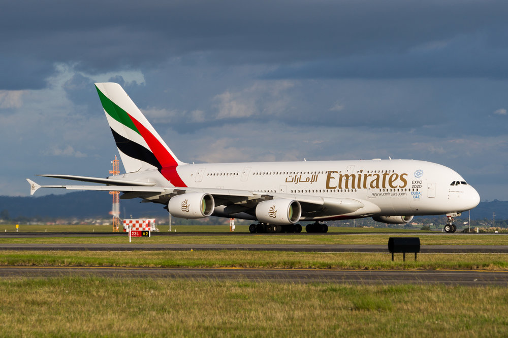 Emirates Airbus A380 A6-EDD departing Auckland. March 2017