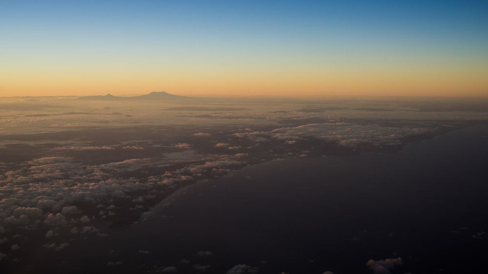 Mount Ruapehu at sunrise, from the Waikato coast