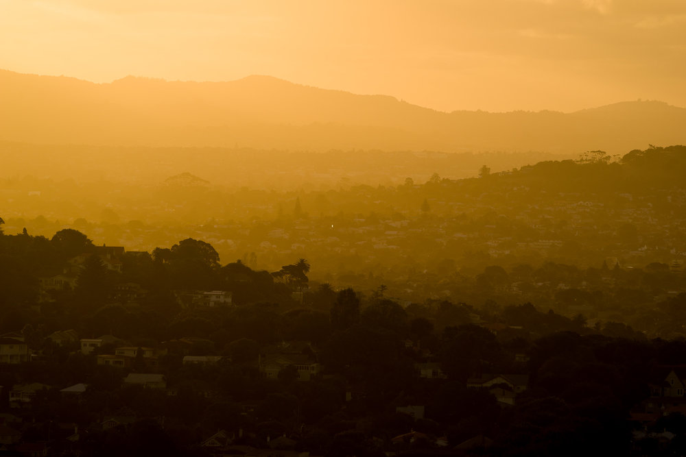 Sunset colours over West Auckland, from One Tree Hill