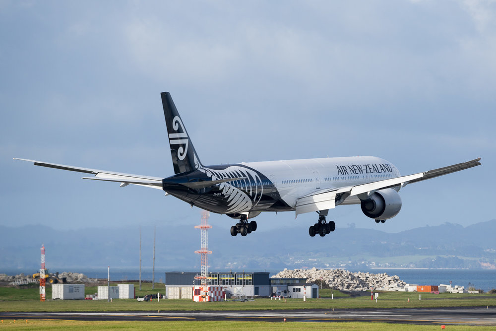 Air New Zealand Boeing 777-300ER ZK-OKM arriving on 23L at Auckland. November 2016