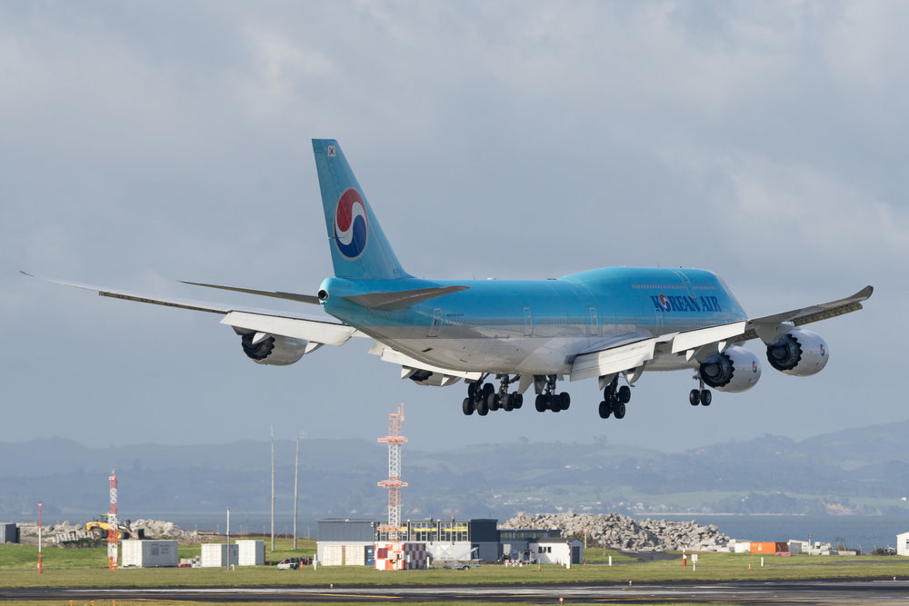 Korean Airlines Boeing 747-8 HL7630 arriving in Auckland. November 2016