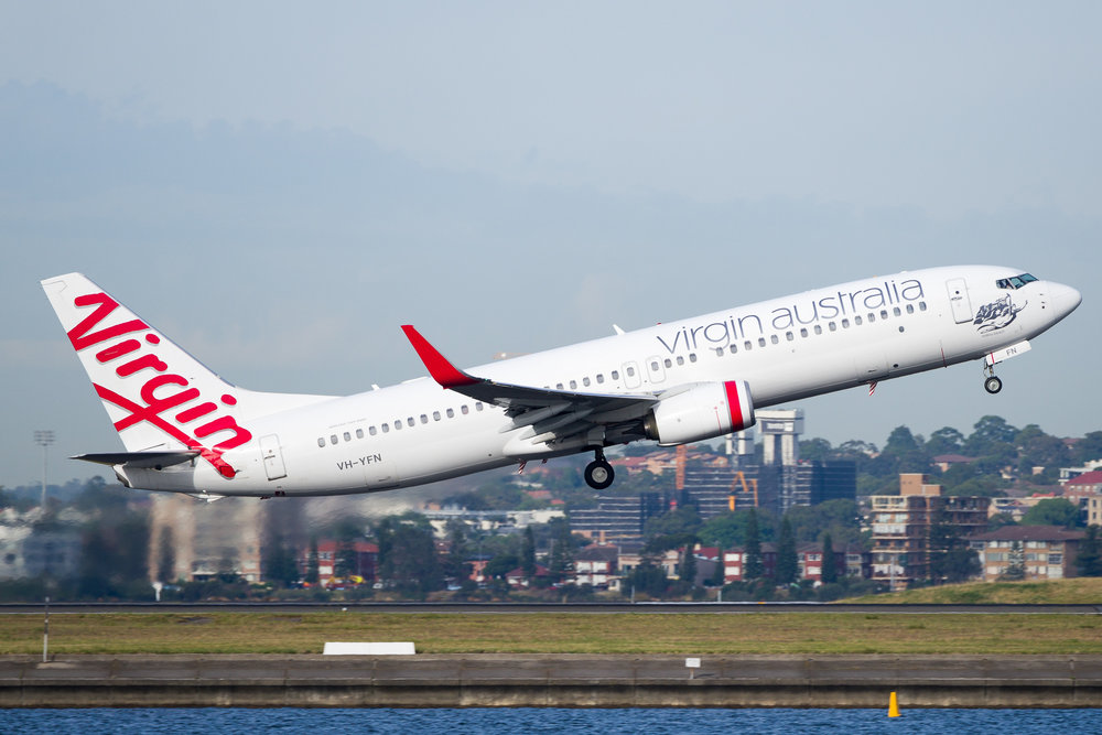 Virgin Australia Boeing 737-800 VH-VFN departing Sydney. December 2016