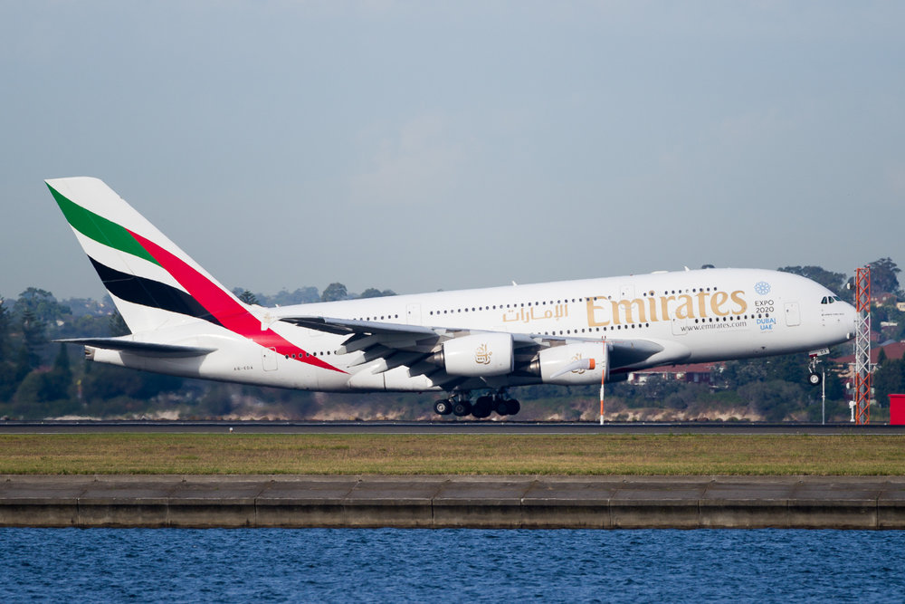 Emirates Airbus A380 A6-EDA arriving in Sydney. December 2016