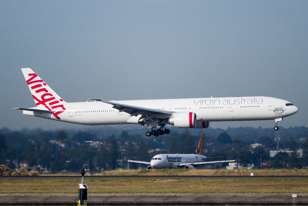 Virgin Australia Boeing 777-300ER VH-VPD arriving in Sydney. December 2016