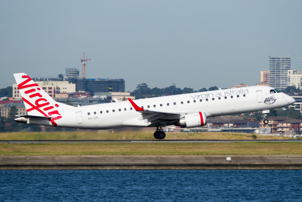 Virgin Australia Embraer E190 departing runway 34R at Sydney. VH-ZPI. December 2016
