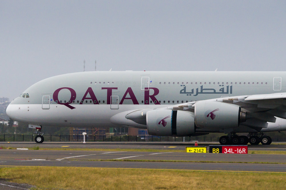 Qatar Airways Airbus A380 A7-APE arriving in Sydney. December 2016