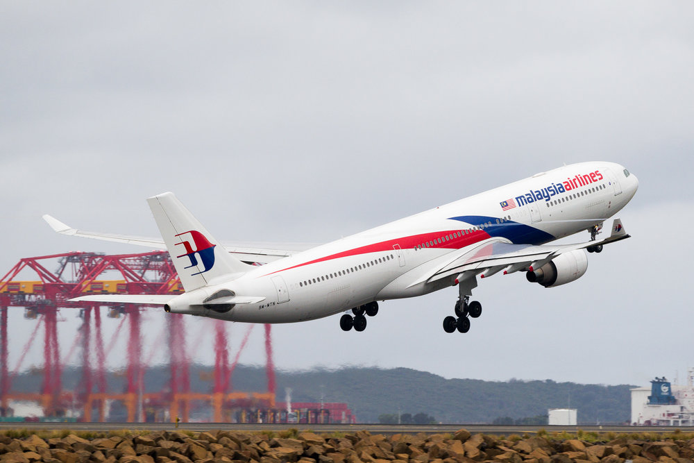 Malaysia Airlines Airbus A330-300 9M-MTN departing Sydney. December 2016