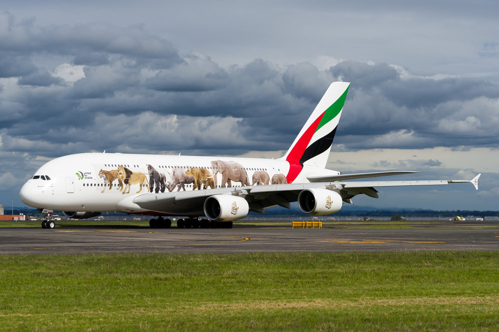 Emirates Airbus A380 A6-EOM arriving in Auckland. March 2017