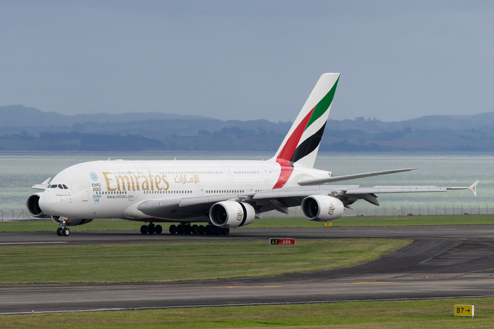 Emirates Airbus A380 A6-EDZ arriving in Auckland. March 2017
