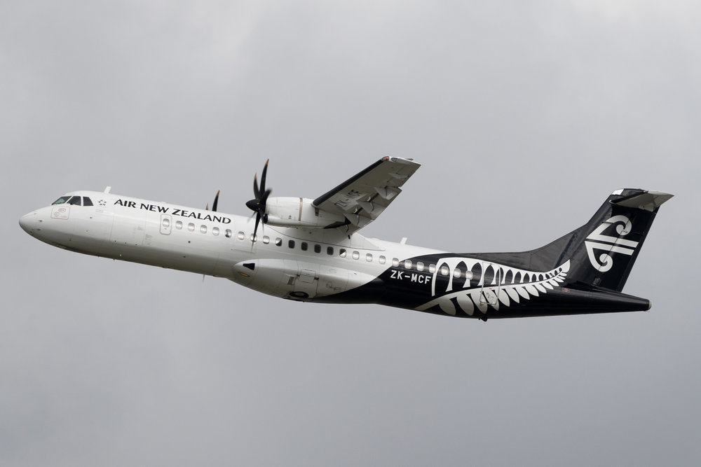 Mount Cook ATR72-500 ZK-MCF departing Auckland. March 2017
