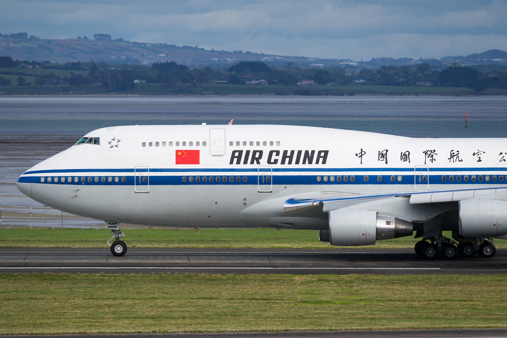 Air China Boeing 747-400 B-2447 arriving on 05R from Sydney. 26 March 2017