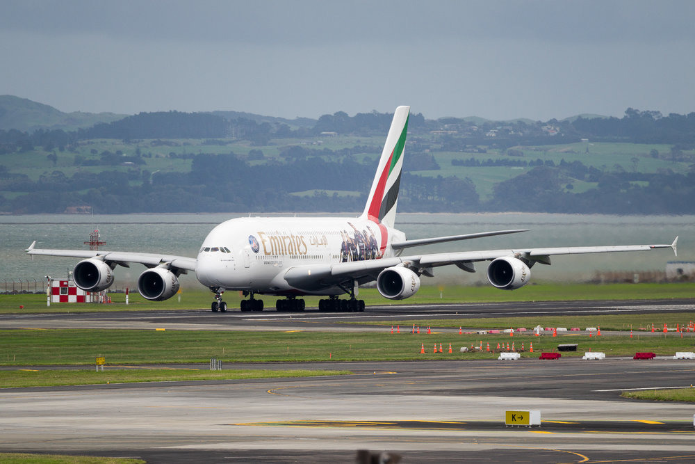 Emirates Airbus A380 A6-EET departing Auckland. March 2017