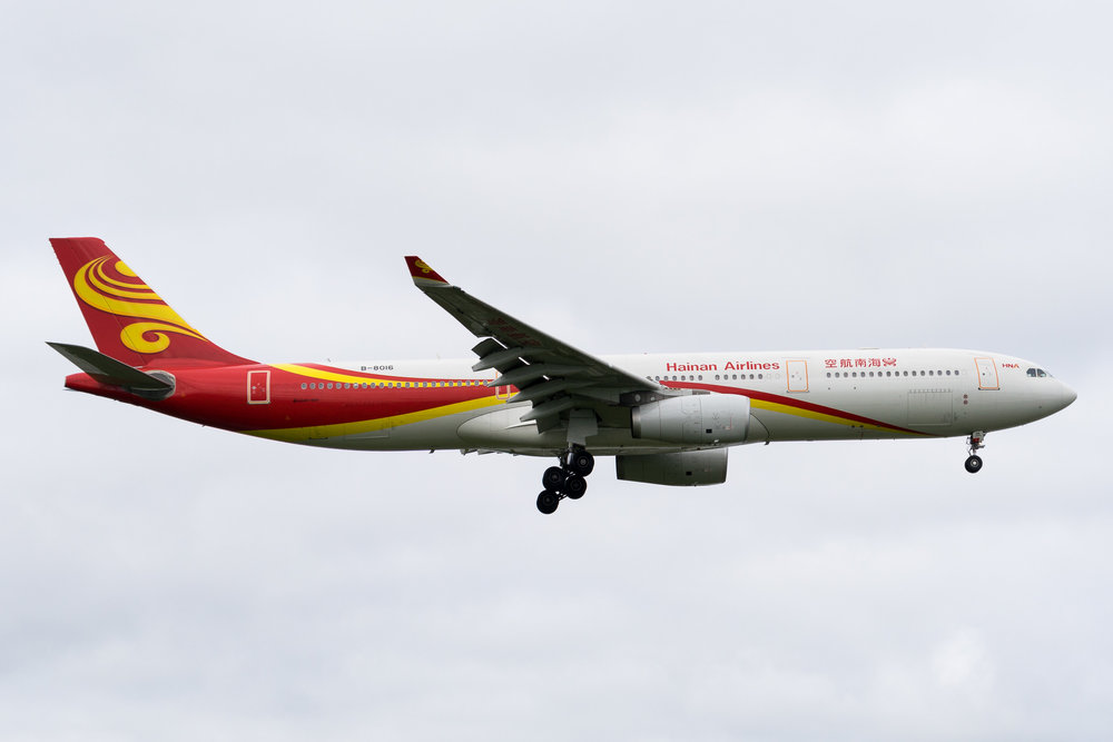 Hainan Airlines Airbus A330-300 B-8016 arriving in Auckland. March 2017