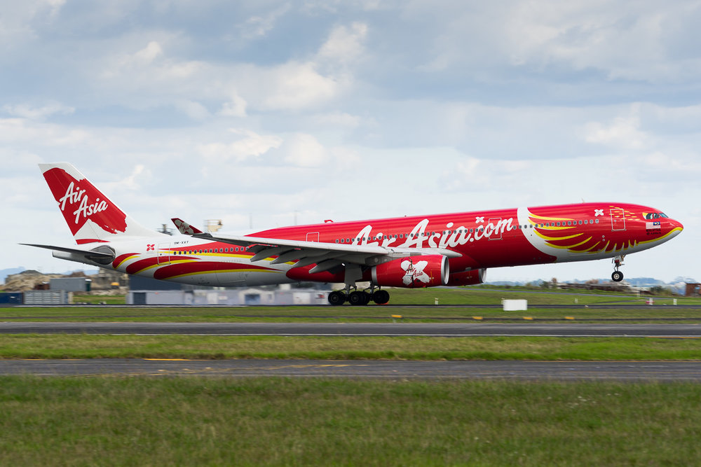AirAsia X Airbus A330-300 9M-XXT arriving in Auckland. March 2017