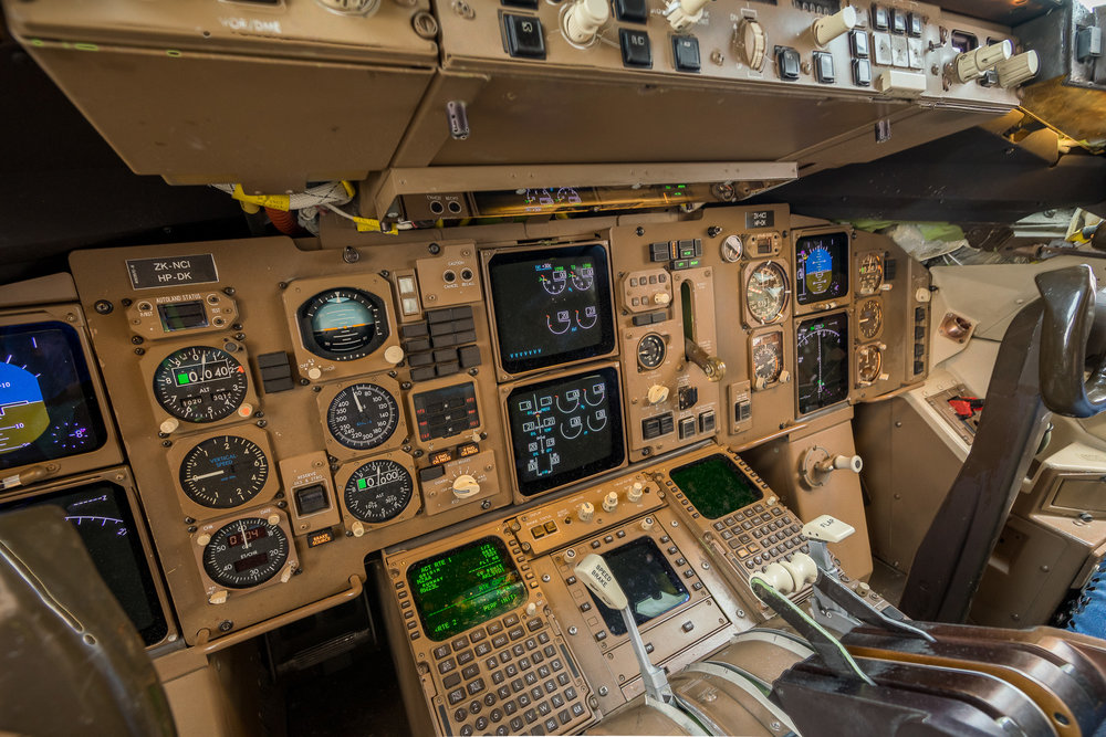 The flight deck of Boeing 767-300ER ZK-NCI at Auckland. April 2017