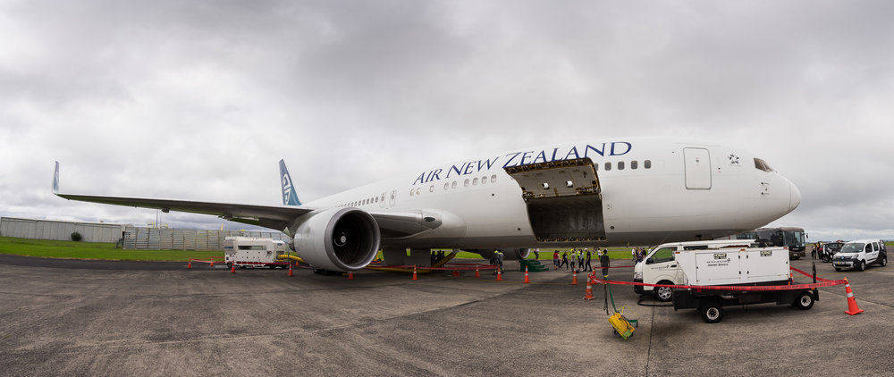 Panromic image of Air New Zealand Boeing 767-300ER ZK-NCI at Auckland. April 2017