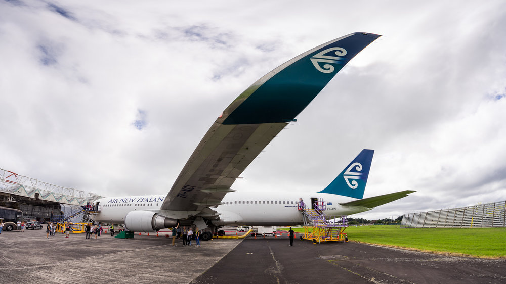 Panoramic image of Air New Zealand Boeing 767-300ER ZK-NCI at Auckland. April 2017