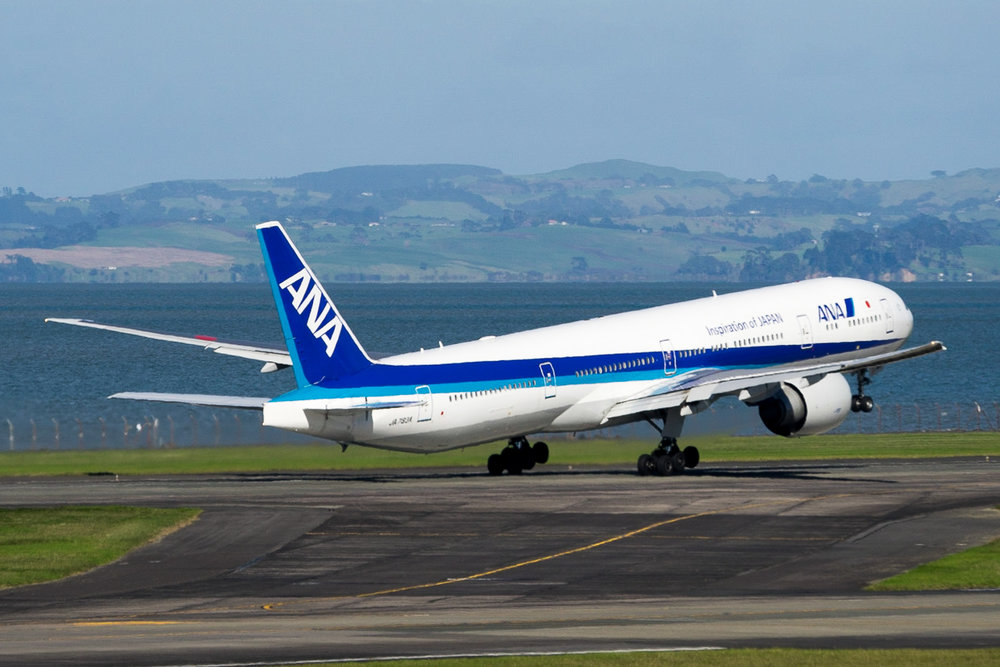 ANA Boeing 777-300ER JA783A departing Auckland. 01 May 2017