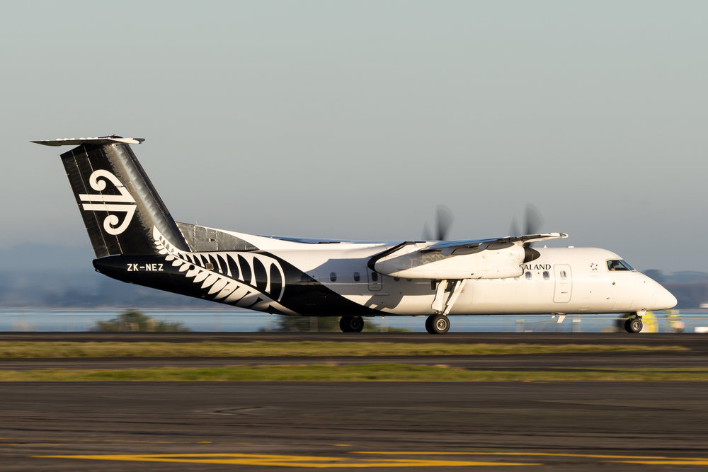 Air Neleson Bombarider Q300 ZK-NEZ departing Auckland. June 2017