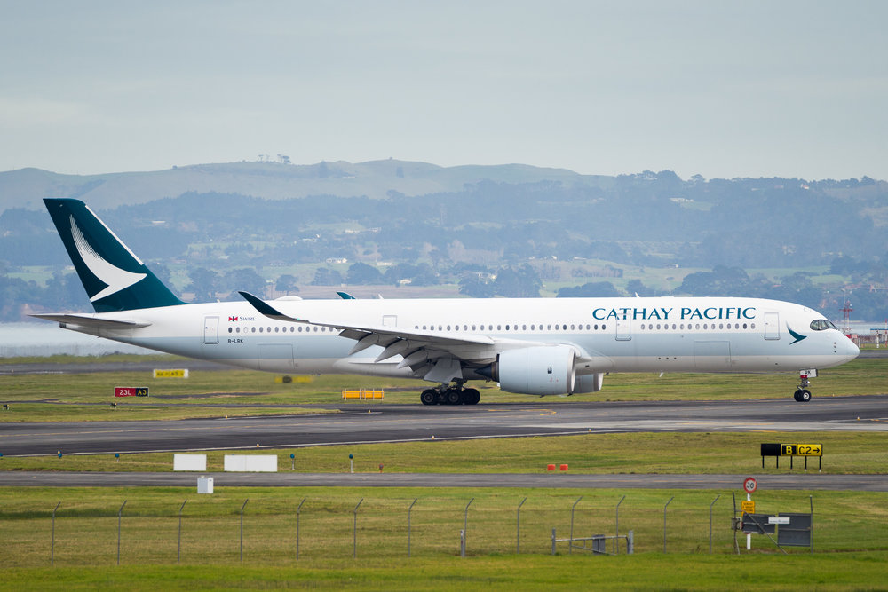 Cathay Pacific Airbus A350-900 arriving in Auckland. B-LRK. 19 June 2017