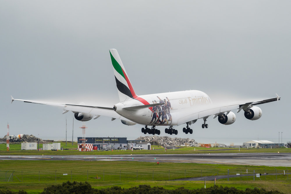 Emirates Airbus A380 A6-EET arriving in Auckland on a rather wet afternoon. 23 June 2017