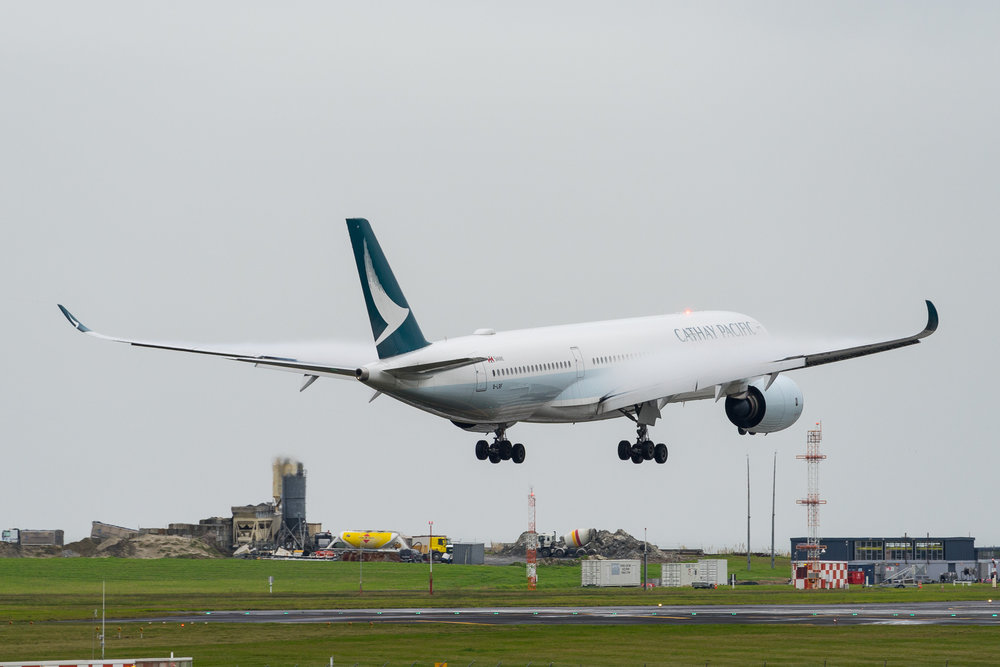 Cathay Pacific Airbus A350-900 B-LRF arriving in Auckland. June 2017